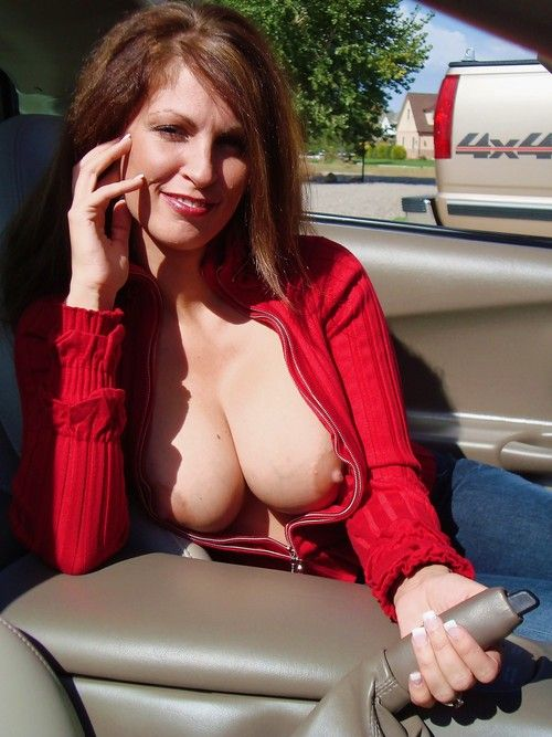 Busty wife outdoors knows how what to do with parking brake