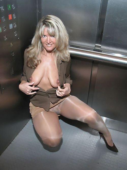 Wife in nylons exposed in elevator – MILF Update