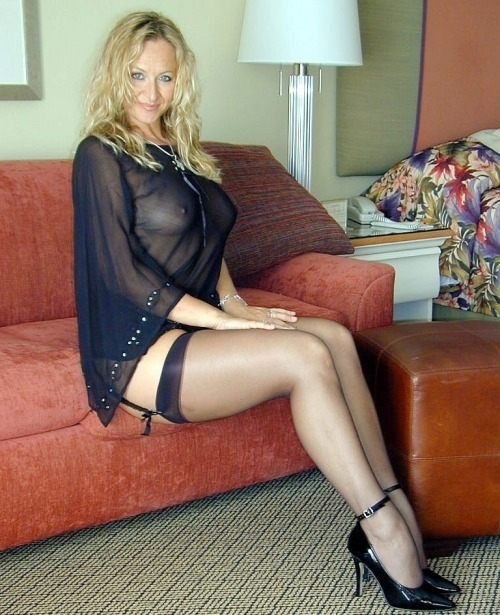 Blonde stockings heels milf sexy